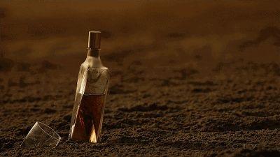 只剩酒和杯的沙滩